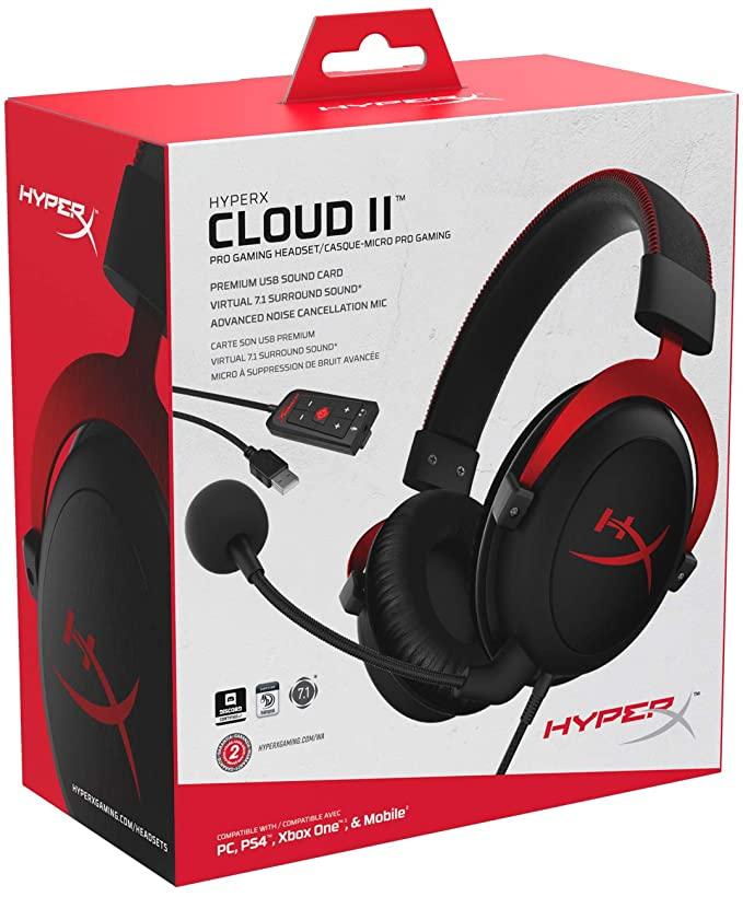 HyperX Cloud II - Gaming Headset, 7.1 Surround Sound, Memory Foam Ear Pads