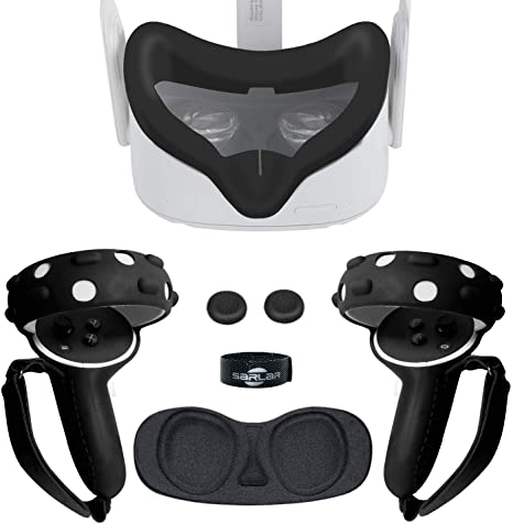 Touch Controller Grip Cover, VR Silicone Face Mask, Pad Set for Oculus Quest